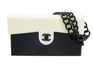 CHANEL シャネル 白黒 プラスチックバッグ01