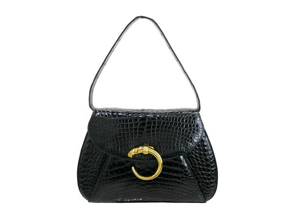 Cartier カルティエ 黒 クロコダイル ポーチ付き バッグ01